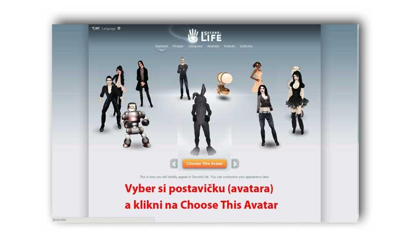 Registrace do virtuálního světa Second life